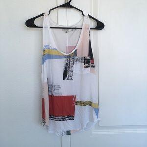 Aritzia art print tank top S white geometric